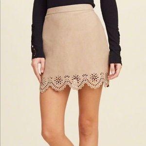 Hollister Faux Suede Laser Cut Mini Skirt 00 NWOT